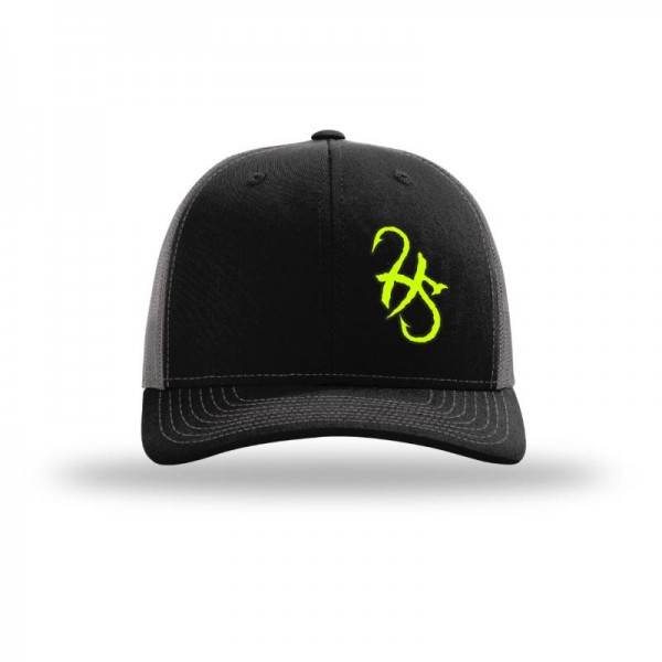 Hook Spit Fishing Gear - Snap Back - Black/Gray - Neon Yellow